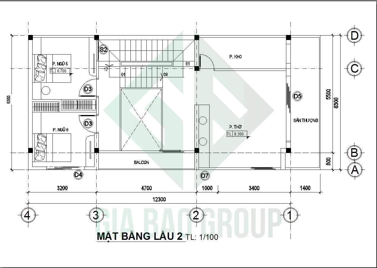 sơ đồ tầng 2 của nhà phố 3 tầng