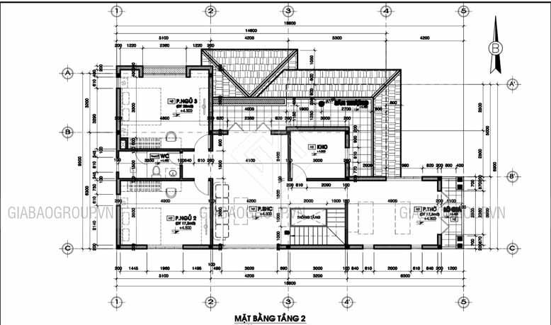 Bản thiết kế mẫu biệt thự 2 tầng hiện đại