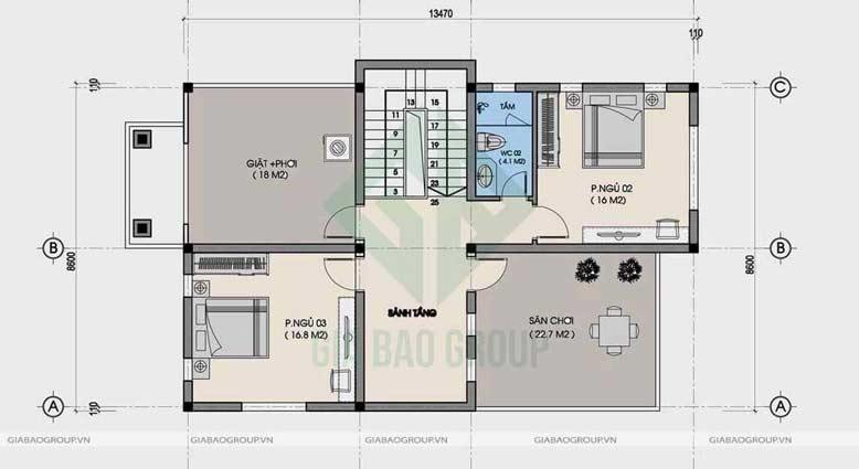 Bản vẽ tầng 2 của biệt thự 2 tầng mái Thái