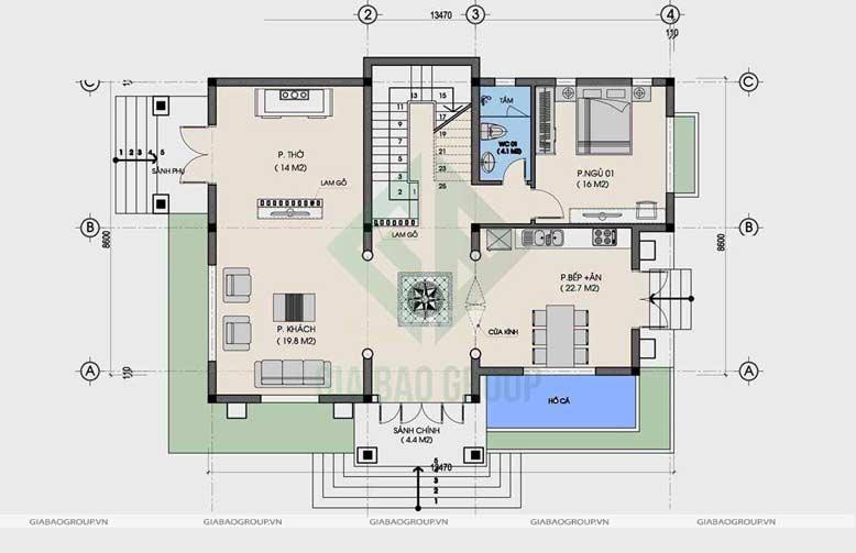 Bản vẽ tầng trệt biệt thự 2 tầng mái thái