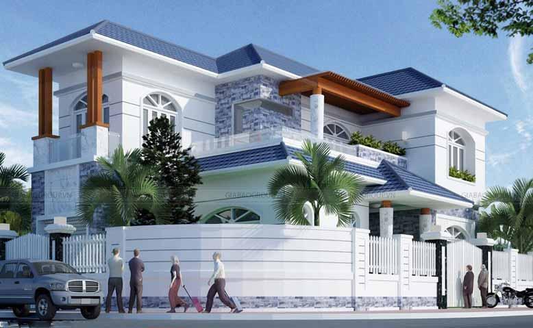 Mẫu biệt thự 2 tầng hiện đại, 2 mặt tiền đồ sộ tại TP Nha Trang xinh đẹp