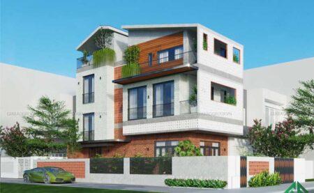 Mẫu nhà phố 3 tầng thiết kế gạch thông gió độc đáo, ấn tượng