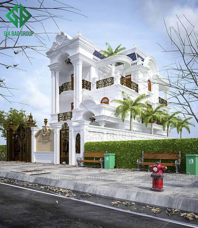 Màu trắng tinh khôi sang trọng của ngôi biệt thự 3 tầng cổ điển