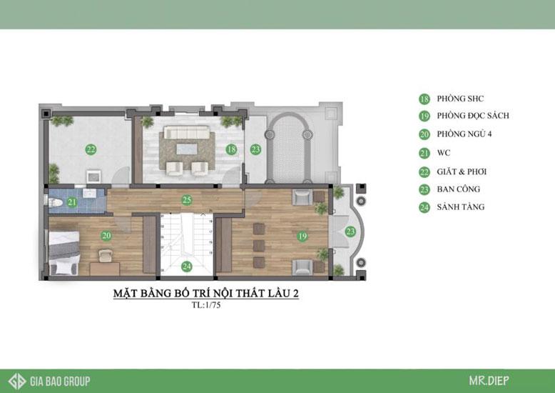 Mặt bằng nội thất lầu 2 của Biệt thự 3 tầng cổ điển