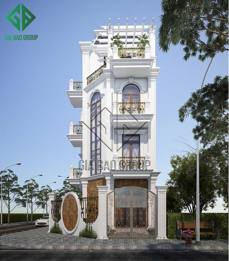 Tông màu trắng của biệt thự 4 tầng tân cổ điển tạo nên sự thanh thoát, sang trọng