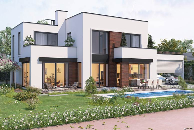 Thiết kế biệt thự theo phong cách hiện đại, đơn giản.