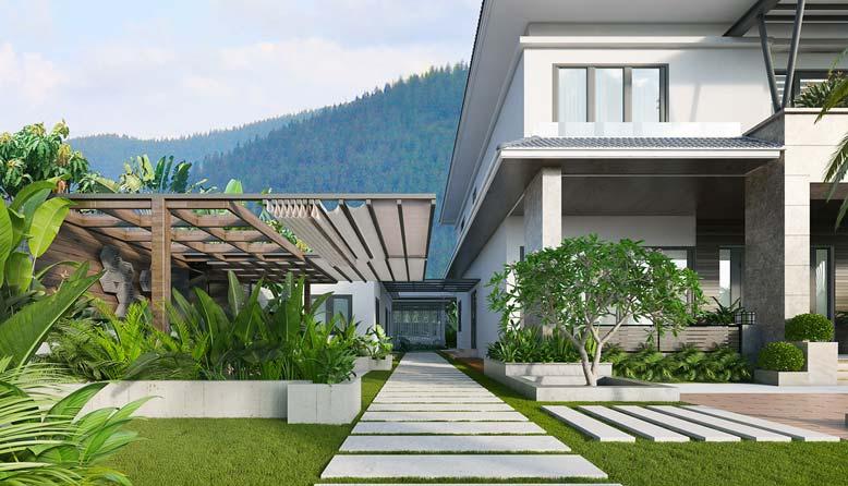 Thiết kế sân vườn của biệt thự 2 tầng