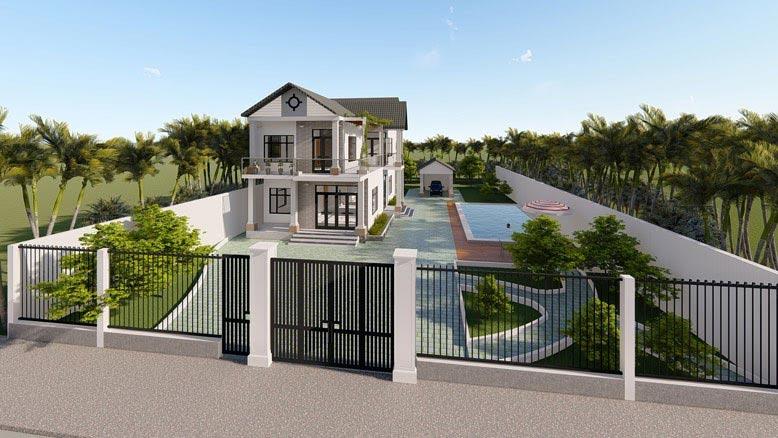 Thiết kế biệt thự nhà vườn theo phong cách hiện đại, đơn giản