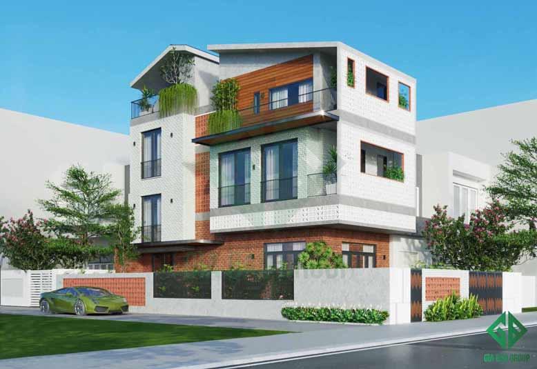 Sự kết hợp màu sắc ấm áp của mẫu nhà phố 3 tầng
