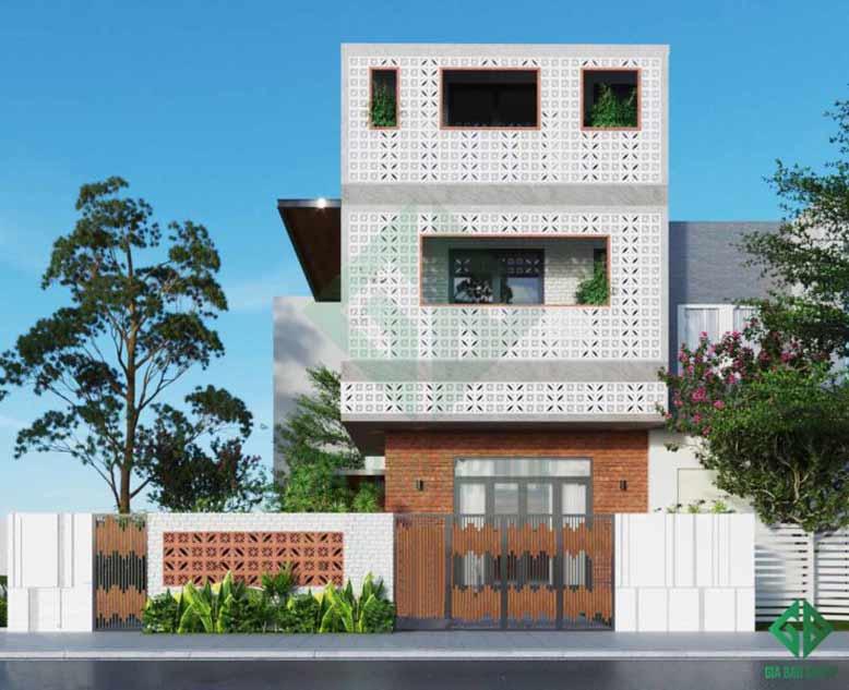 Toàn cảnh mẫu nhà phố 3 tầng hiện đại với gạch thông gió ấn tượng