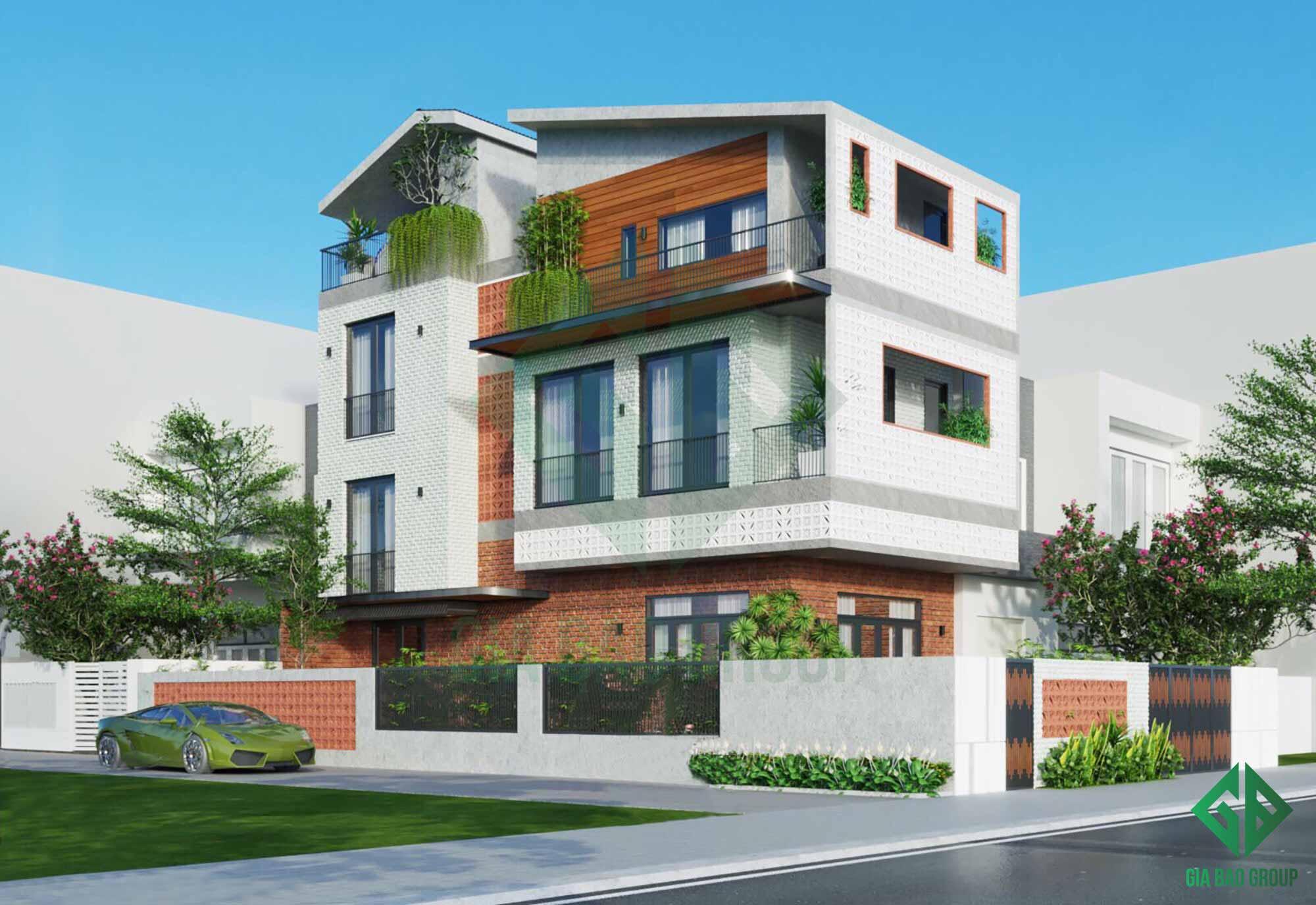 hình ảnh mặt tiền nhà phố 3 tầng