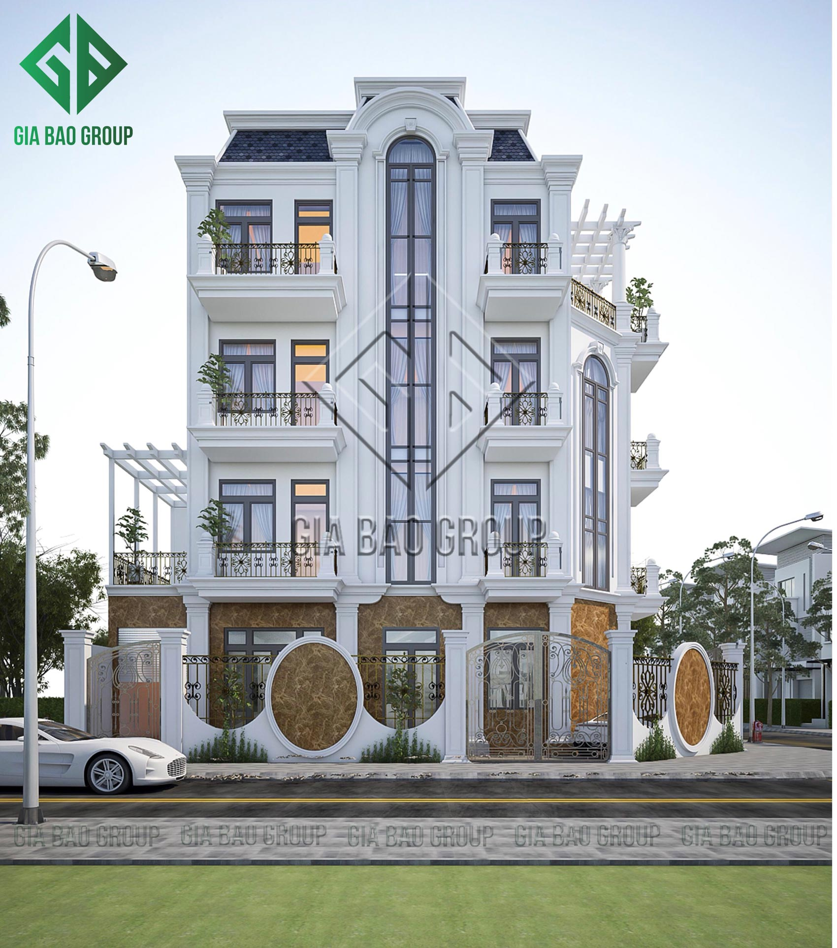 Hình 3D biệt thự 3 tầng tân cổ điển