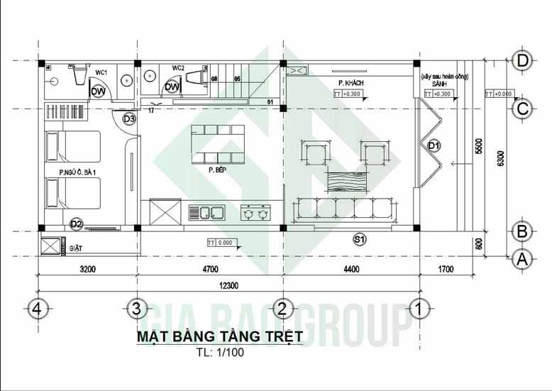 Sơ đồ thiết kế mặt bằng tầng trệt của mẫu nhà phố 3 tầng