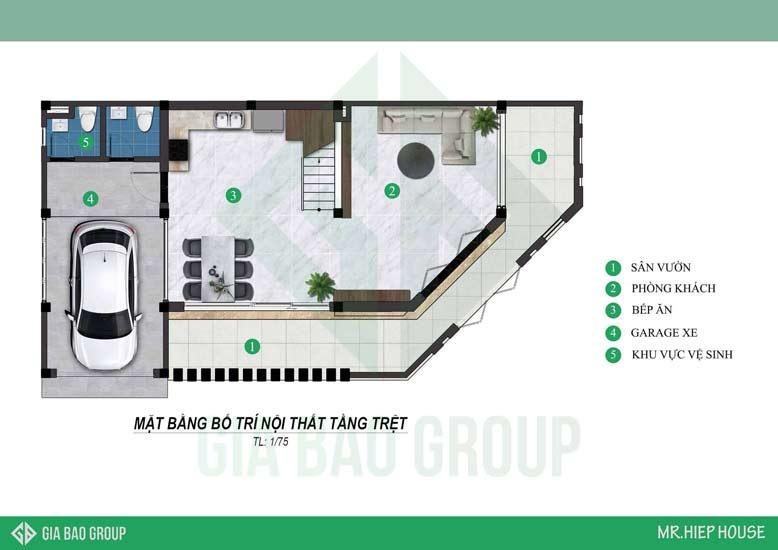 Bản thiết kế biệt Thự 3 tầng cho tầng trệt
