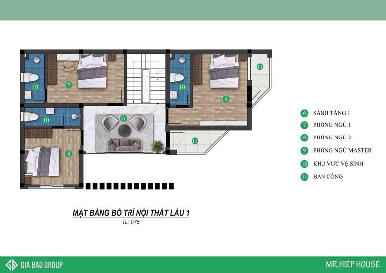 Bản thiết kế biệt thự 3 tầng cho lầu 1