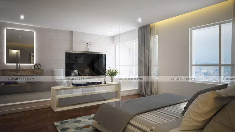 Mẫu phòng ngủ trong thiết kế nội thất biệt thự mái thái thái tại Long An