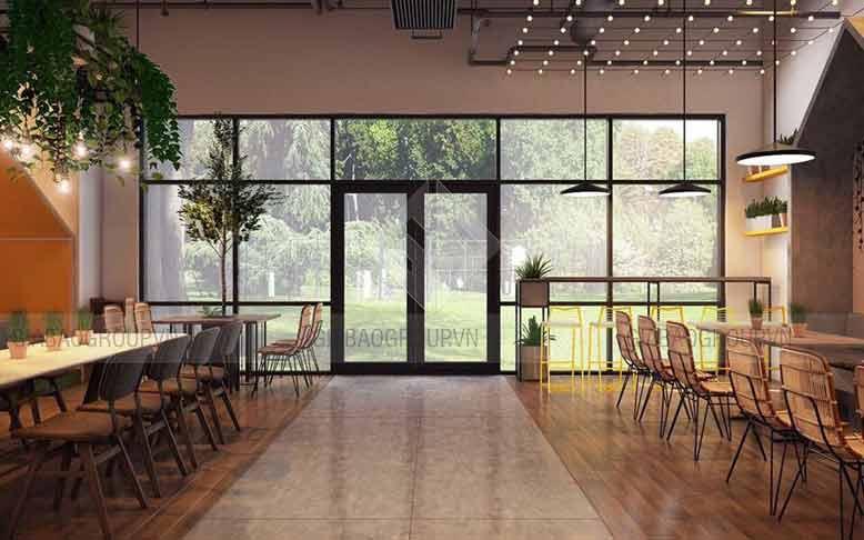 Thiết kế nội thất quán trà sữa chú trọng mảng xanh thiên nhiên