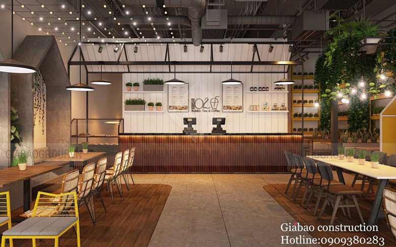 Không gian thiết kế nội thất quán trà sữa tại Mỹ