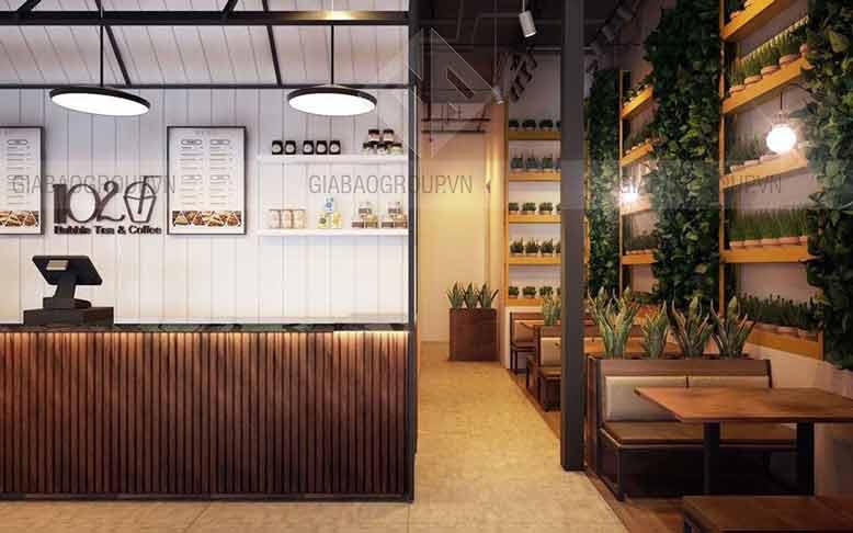 Thiết kế không gian bên trong của quán trà sữa hiện đại