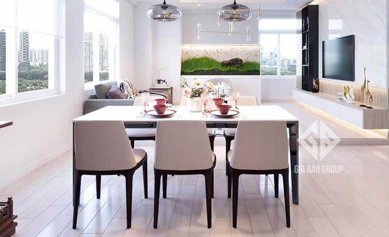 Nội thất căn hộ chung cư đẹp cho phòng bếp thanh lịch, tràn ngập ánh sáng