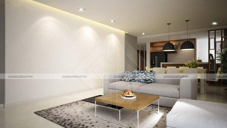 Phòng khách hiện đại trong mẫu thiết kế nội thất biệt thự mái thái