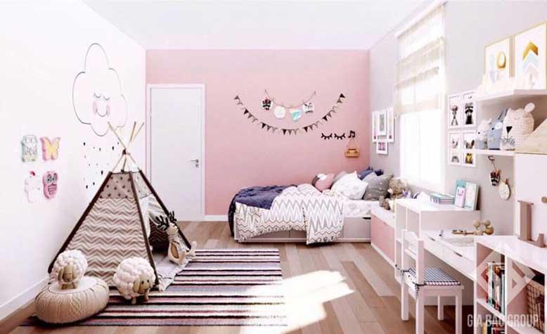 Nội thất căn hộ chung cư đẹp cho phòng ngủ ngọt ngào