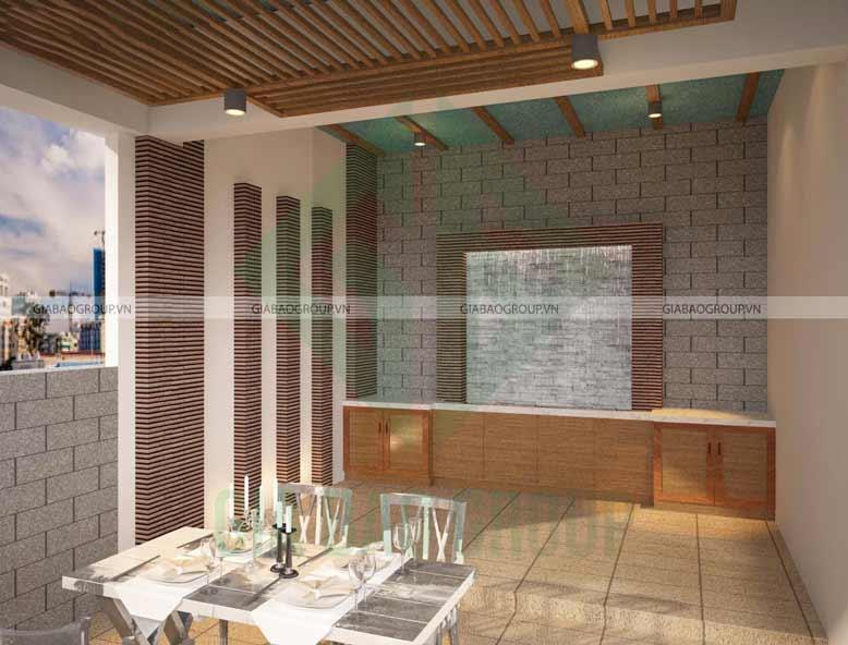 Phòng ăn trong thiết kế nội thất biệt thự mái thái