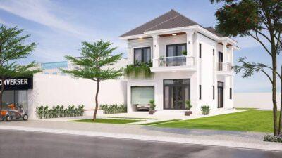 Thi công biệt thự nhà vườn 2 tầng mái Thái tại Củ Chi-TCKT10