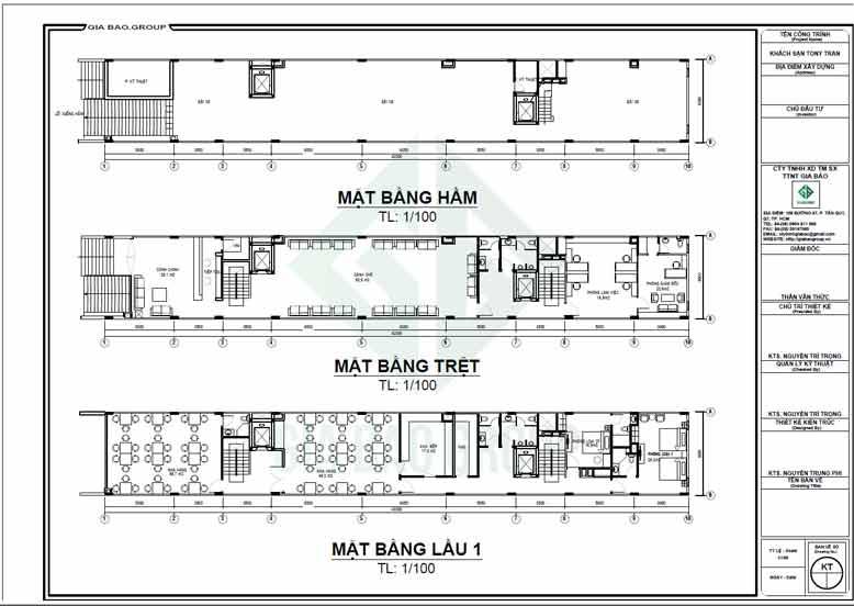 Ảnh mặt bằng tầng hầm, tầng trệt và lầu 1 của mẫu khách sạn hiện đại 10 tầng