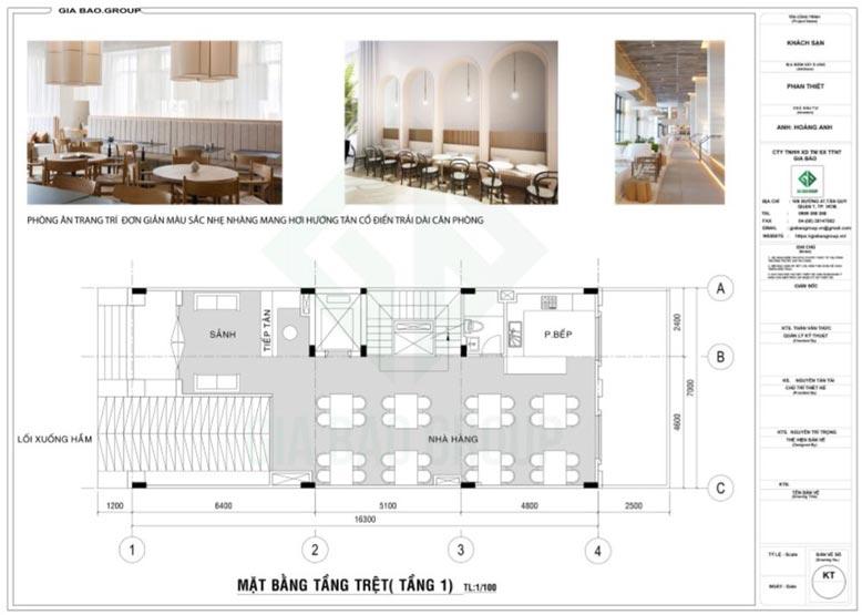 Mặt bằng tầng trệt trong thiết kế khách sạn Hoàng Anh, Phan Thiết