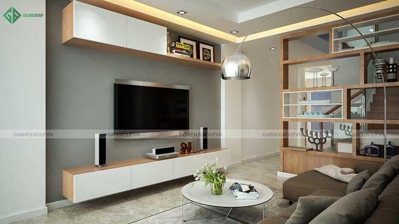 Nội thất nhà phố hiện đại với phòng khách tinh tế, nhã nhặn