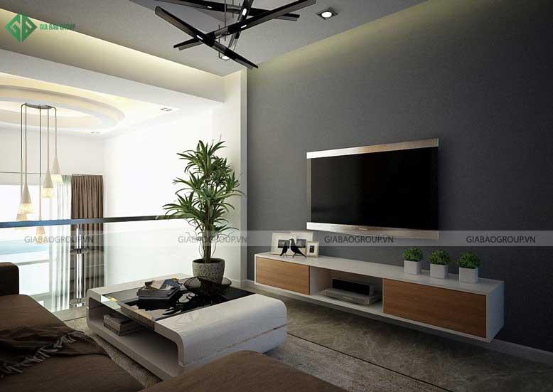 Nội thất nhà phố hiện đại với phòng sinh hoạt chung ấm áp gần gũi