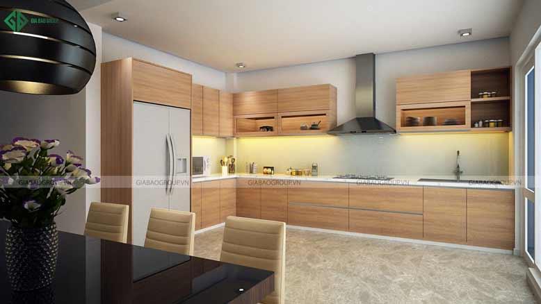 Nội thất nhà phố hiện đại với phòng bếp tiện nghi