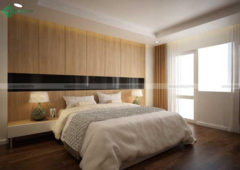 Nội thất nhà phố hiện đại với phòng ngủ tràn ngập ánh sáng tự nhiên