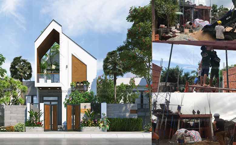Thi công biệt thự mini 2 tầng kiến trúc mới lạ tại Lagi, Bình Thuận