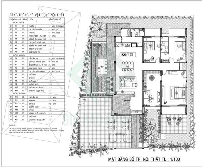 Sơ đồ mặt bằng nội thất của biệt thự vườn 3 gian