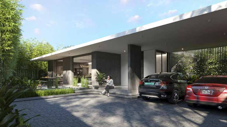 Biệt thự vườn 3 gian với 2 tông màu trắng xám nổi bật