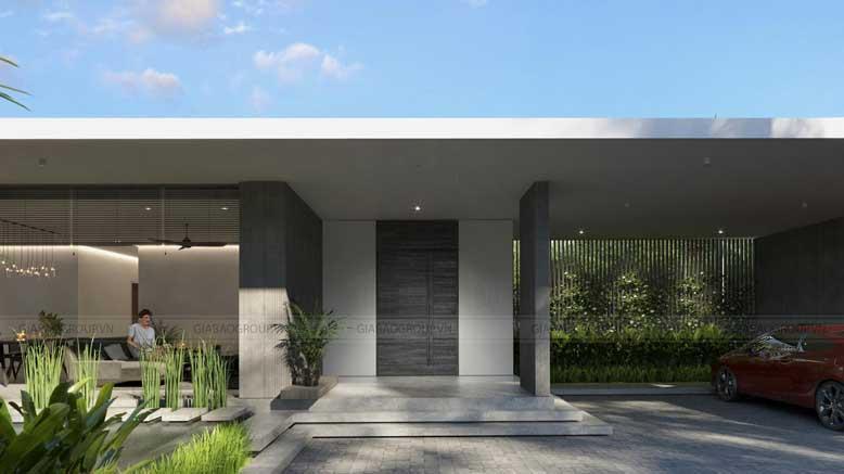 Khuôn viên ngoài của biệt thự vườn 3 gian được thiết kế bằng đá nhám ốp tường xám