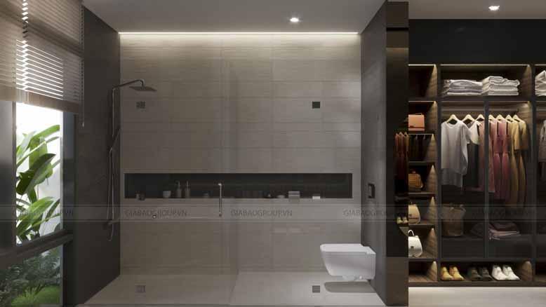 Phòng tắm và phòng thay đồ biệt thự vườn 3 gian hiện đại sang trọng