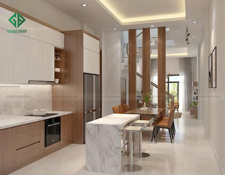Phòng bếp hiện đại, tiện nghi của nhà 1 trệt 2 lầu
