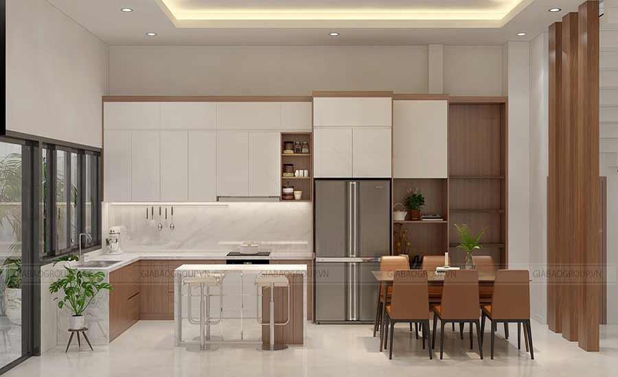 Thiết kế phòng bếp mẫu nhà 1 trệt 2 lần