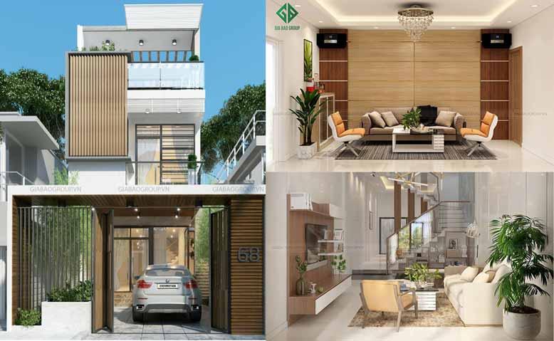 Thiết kế mẫu nhà phố đẹp 1 trệt 2 lầu hiện đại – Chị Trang, Tp Nha Trang