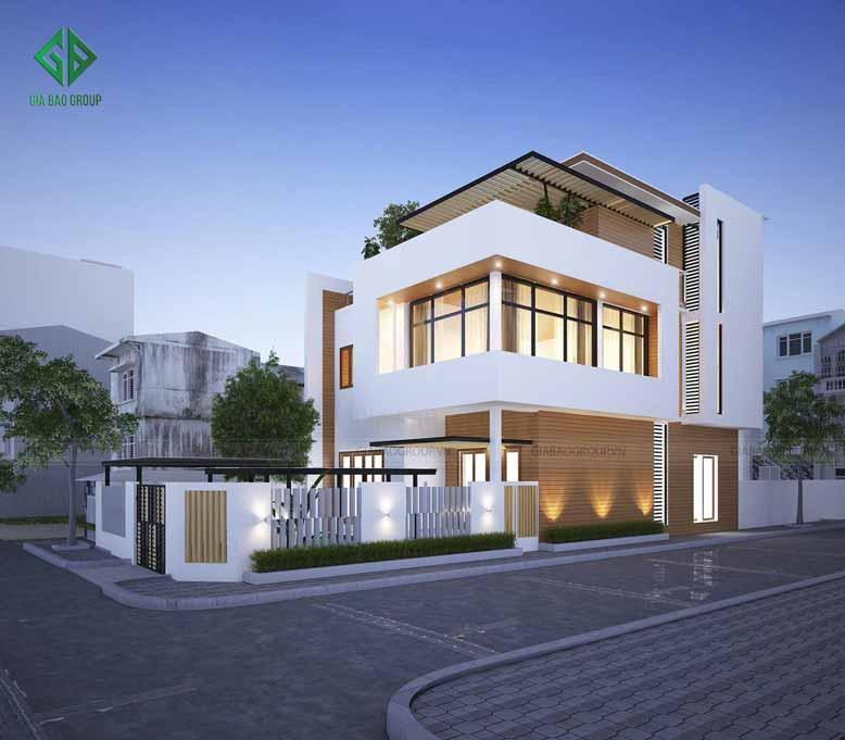 Thiết kế nhà phố 2 mặt tiền tối giản ở bên hông nhà
