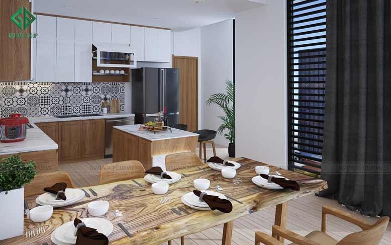 Phòng ăn với gỗ nguyên khối trong thiết kế nhà phố 2 mặt tiền