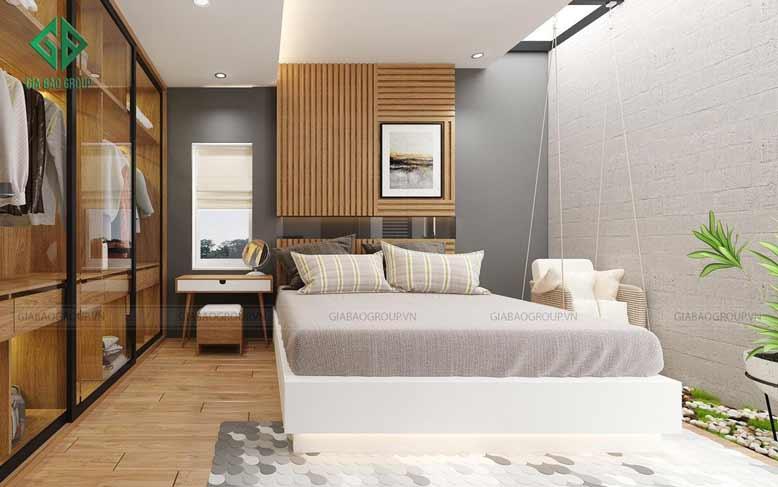 Phòng ngủ thanh nhã của thiết kế nhà phố 2 mặt tiền hiện đại