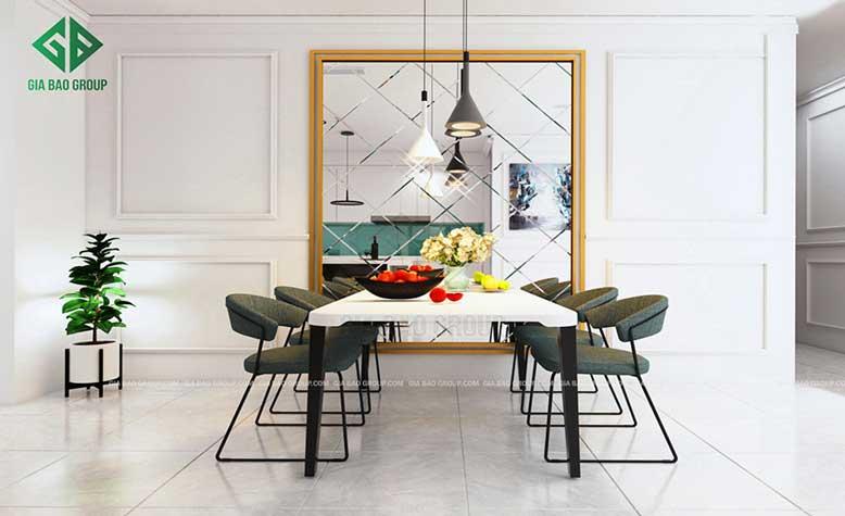Phòng ăn hiện đại với bàn ghế lớn