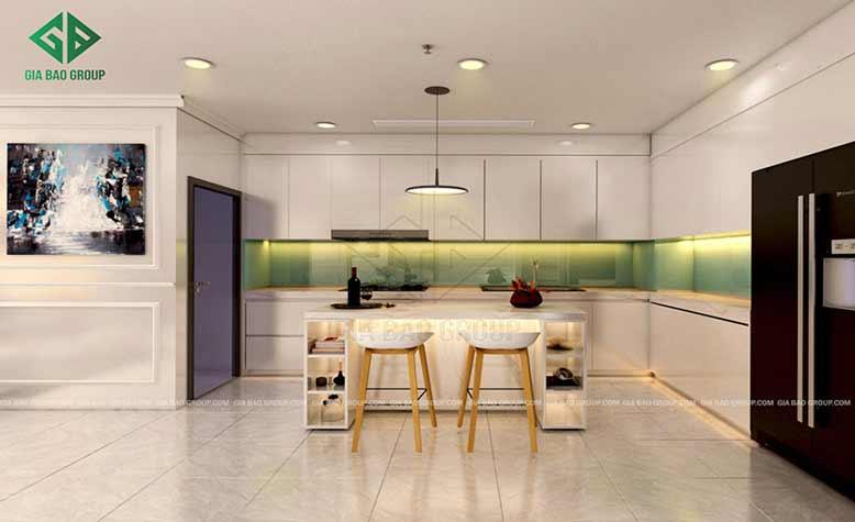 Không gian bếp của căn hộ Vinhomes ấm cúng với gam màu trắng