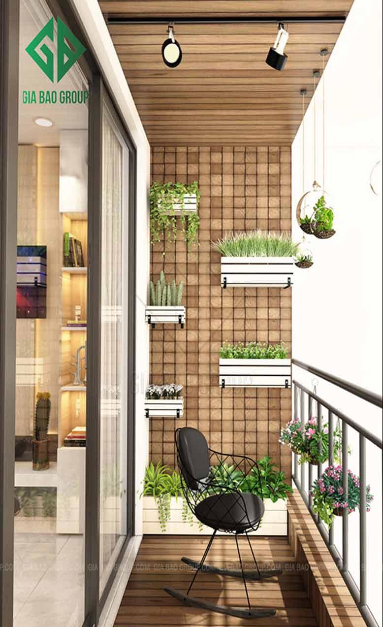 Ban công căn hộ Vinhomes tối giản với những cây cảnh mini