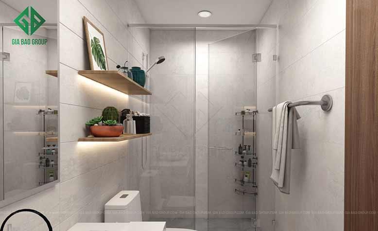 Thiết kế phòng tắm căn hộ Vinhomes với diện tích nhỏ, buồng tắm bằng kính