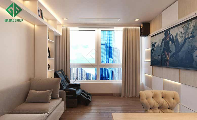 Phòng khách với thiết kế cửa số lớn tạo không gian sáng sủa cho căn hộ Vinhomes